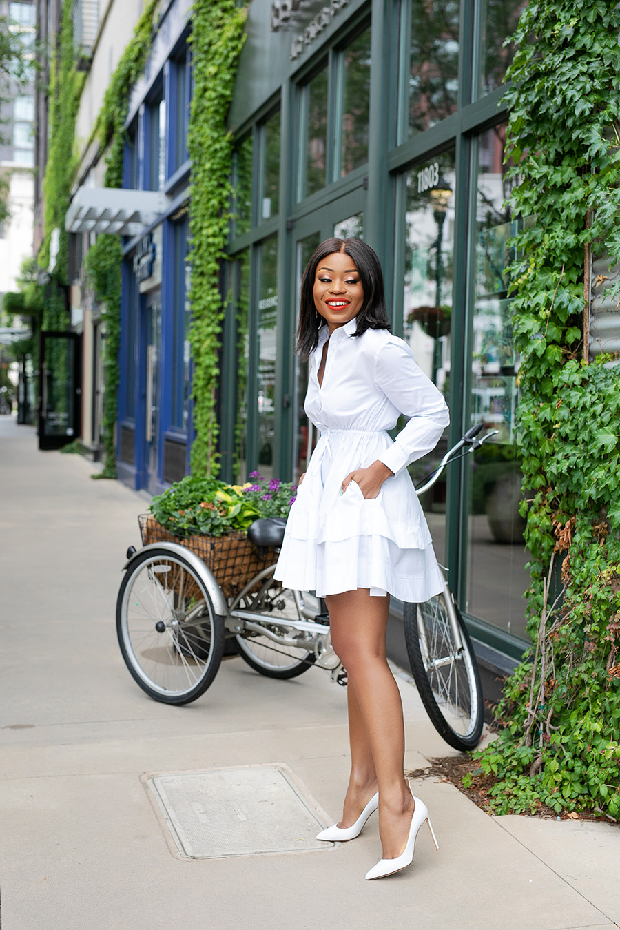 summer white shirt dress with white pumps
