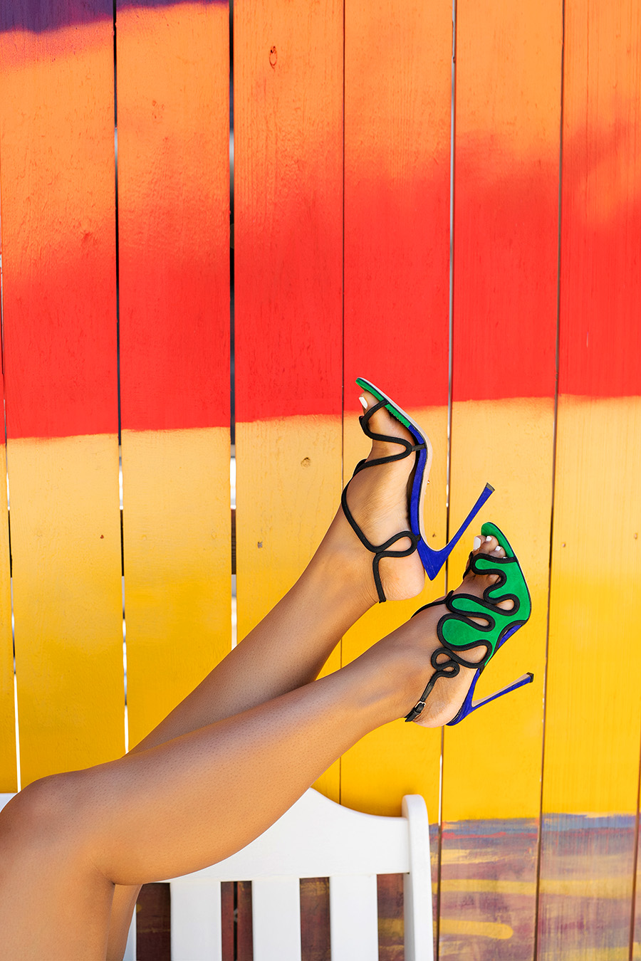 blue and green Sergio Rossi lagoon Suede Heels again a bright wall