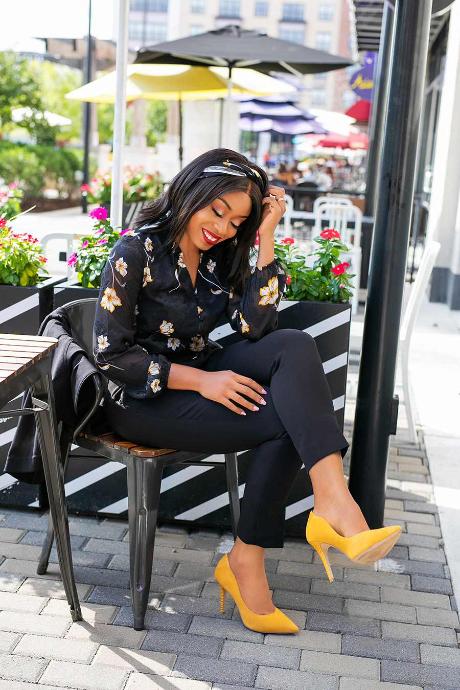 fall work style in black and yellow
