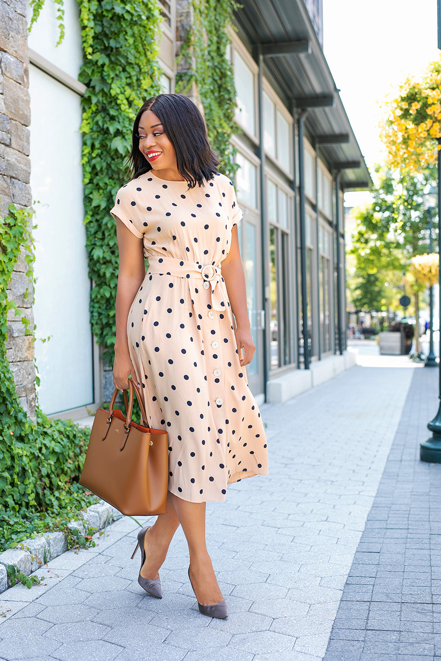 dotted summer dress for work