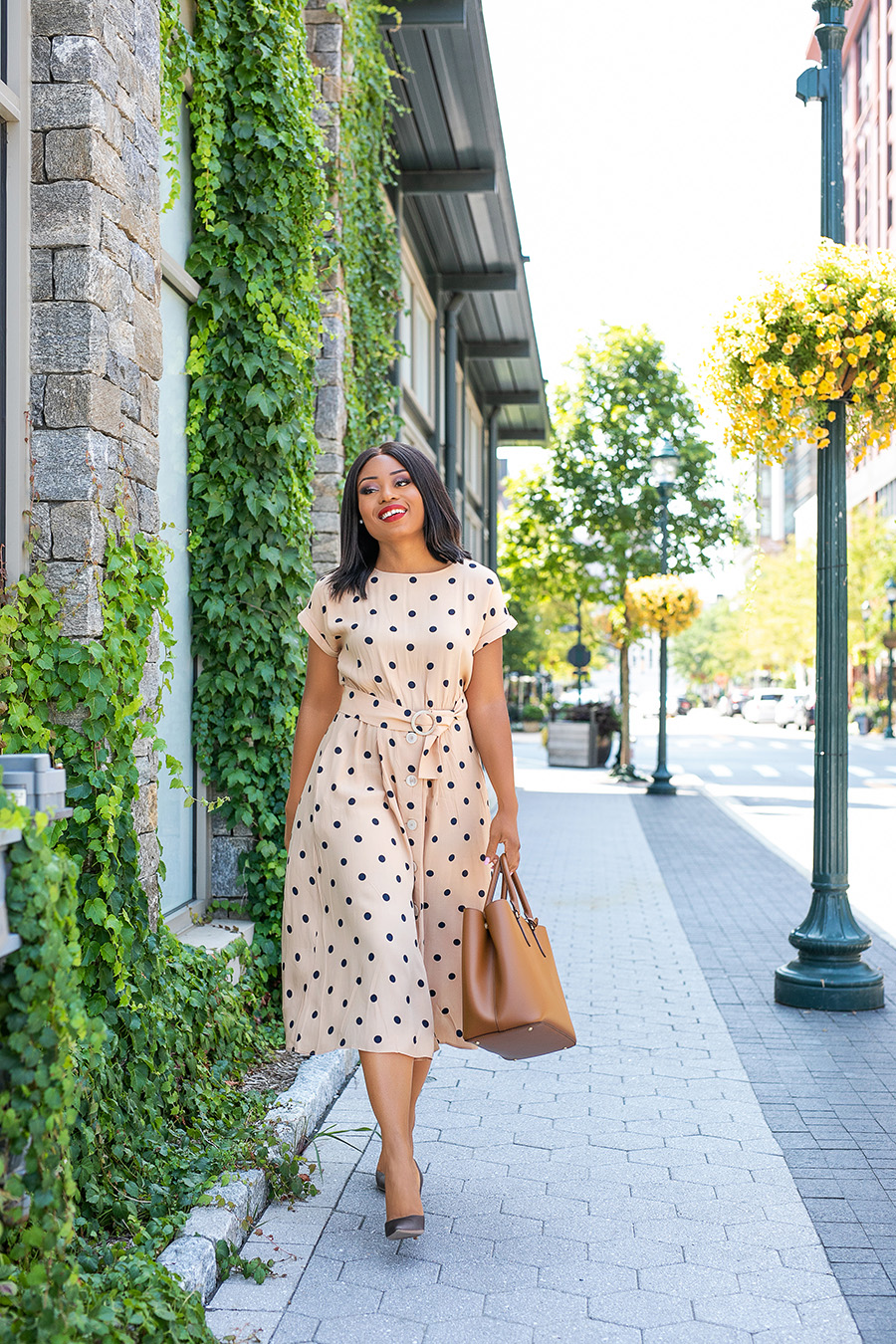 polka dot summer dress for work