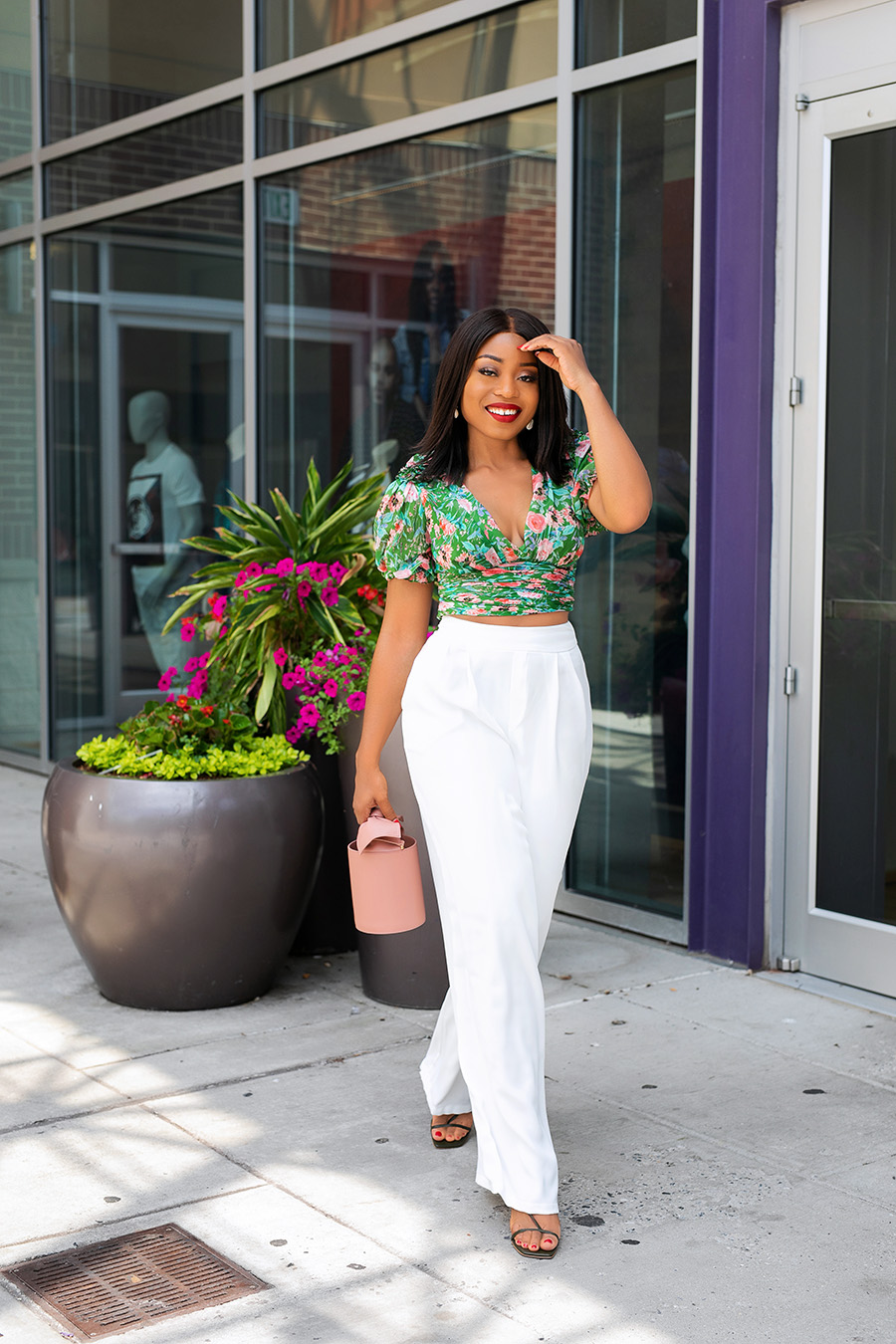 floral top and white pants