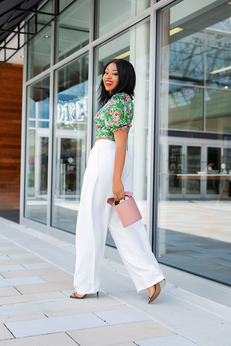 floral top and labor day white pants