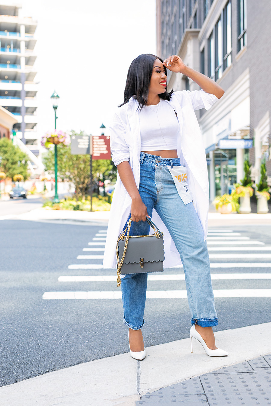 Monse inside out jeans and white pumps