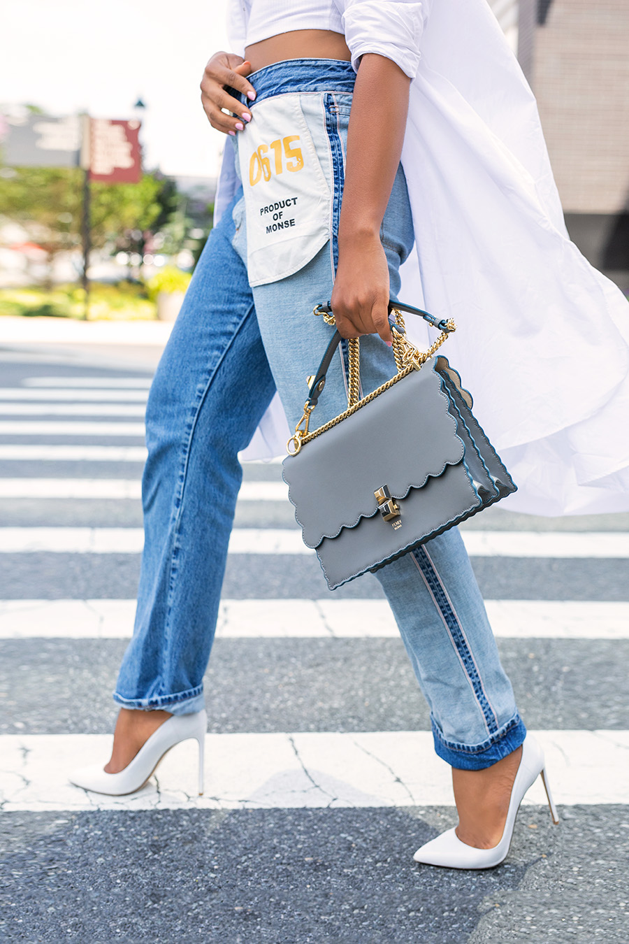 Monse jeans and white pumps