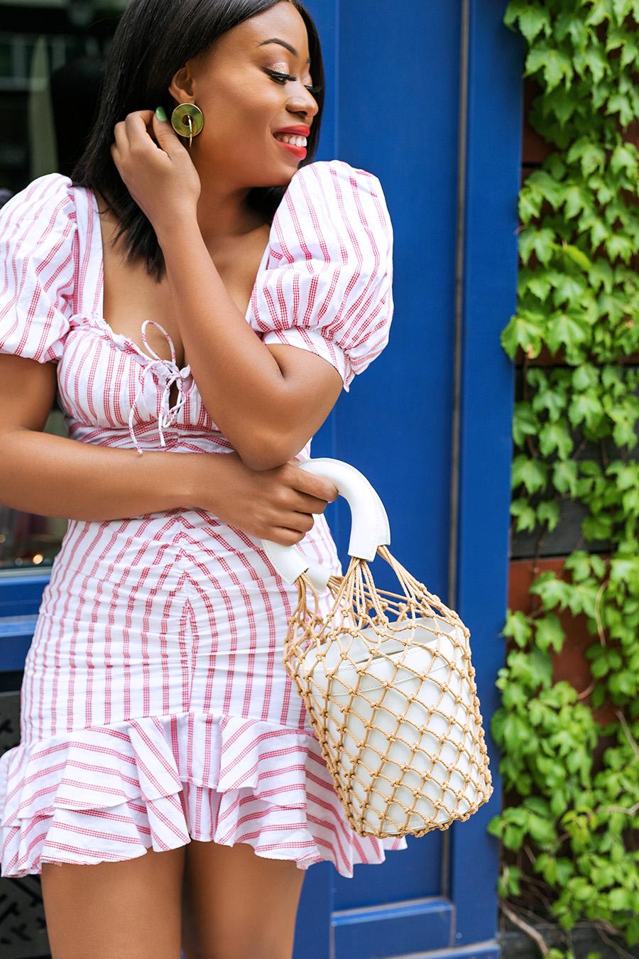 Jonathan Simkhai Puff Sleeve Ruffle Dress