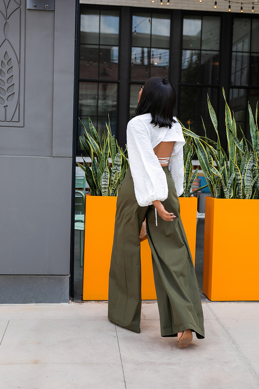 wide leg trousers with crop top