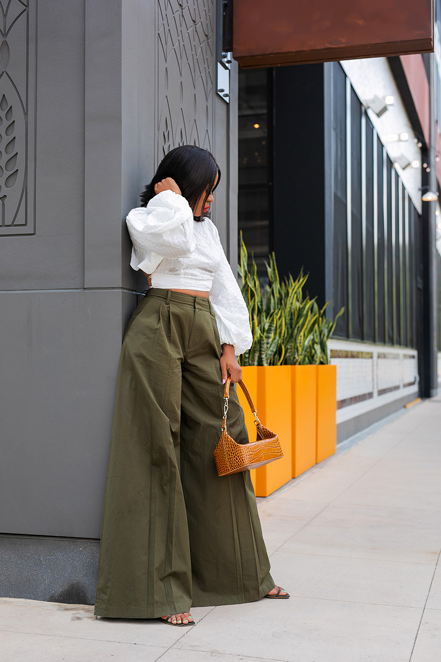 high waisted pants with cult gaia crop top