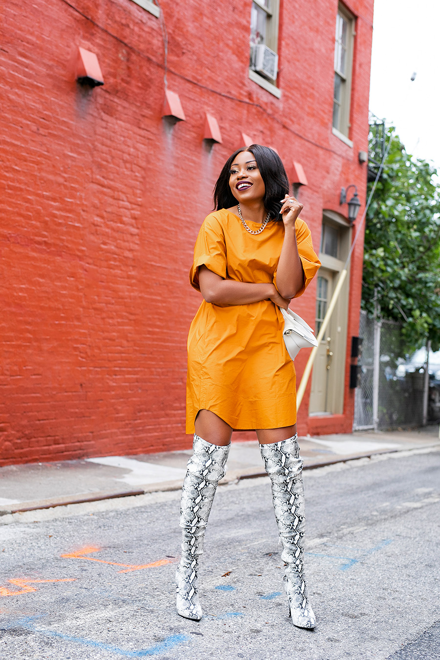 fall boots and orange dress