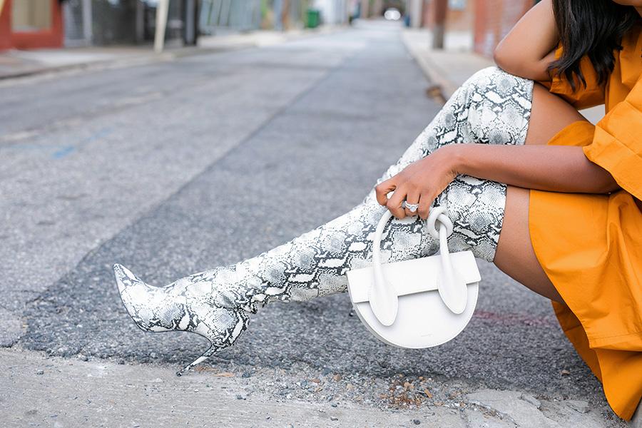 snake print knee high boots and yusefi bag