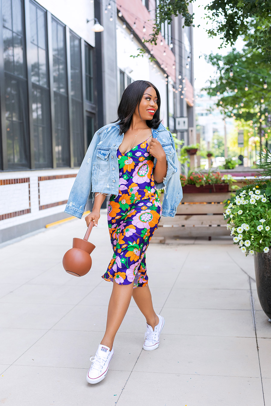 floral slip dress and denim for fall