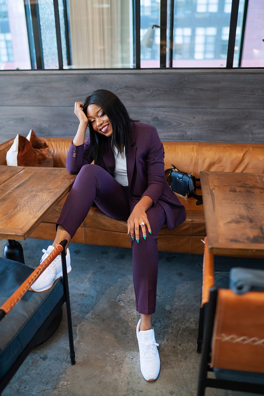 Stella-Adewunmi-of-jadore-fashion-shares-casual-work-outfit-in-suits-and-sneakers