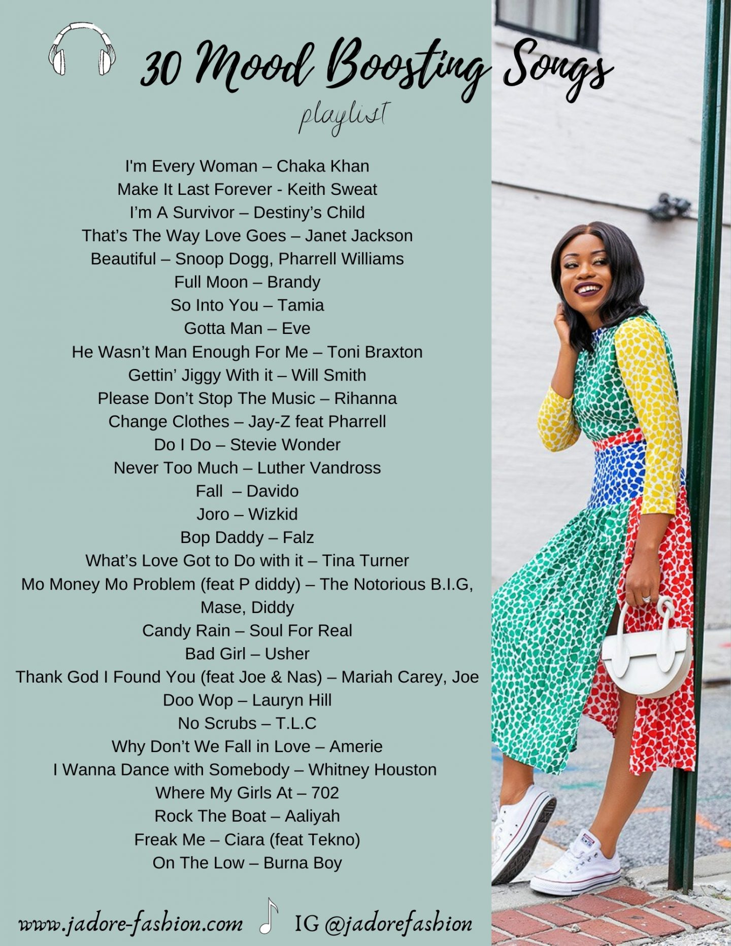 30 Mood Boosting Songs by Stella Adewunmi of Jadore-fashion