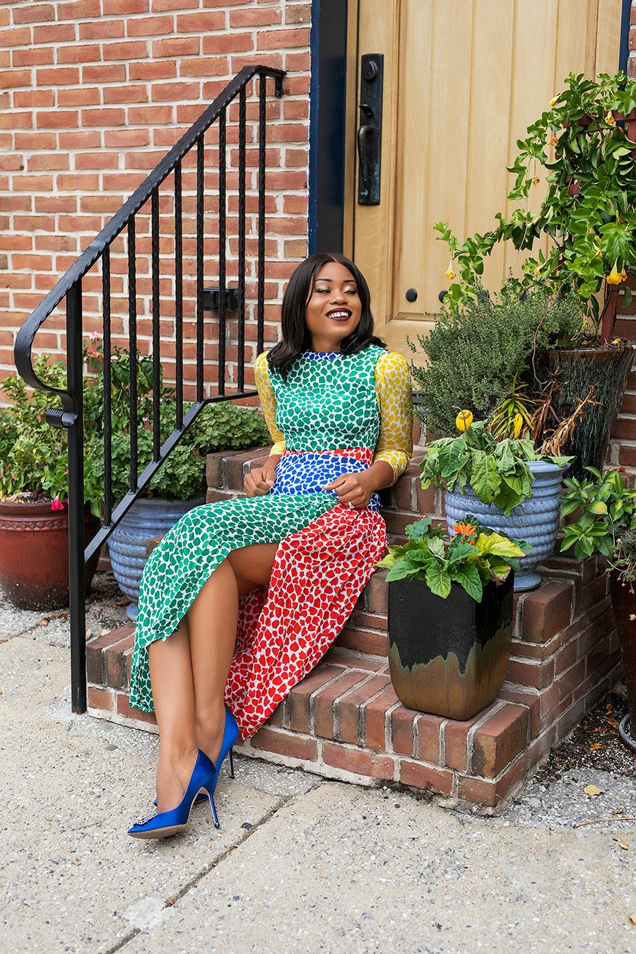 stella-adewunmi-of-jadore-fashion-blog-in-rixo-charlene-dress-manolo-blahnik-for-spring