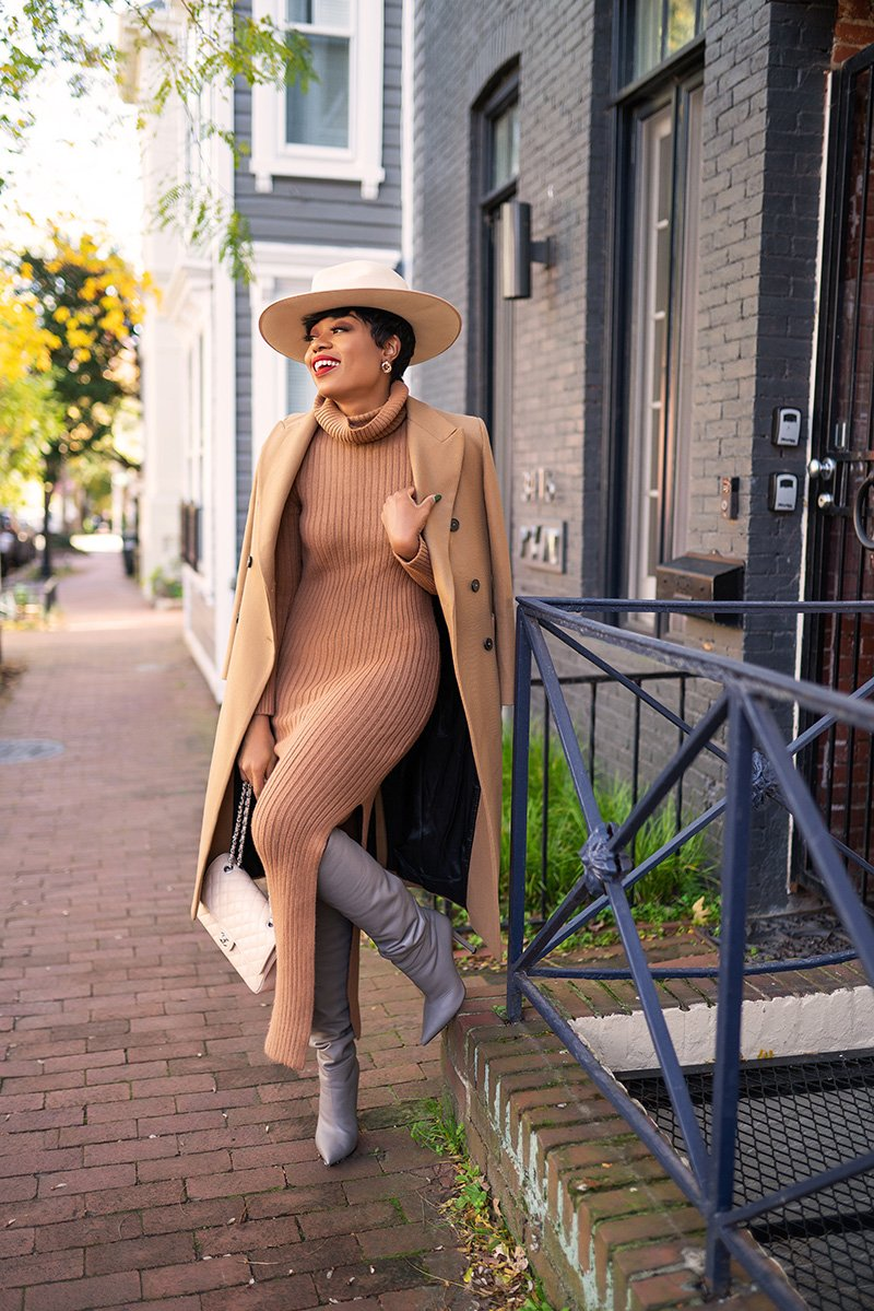 stella-adewunmi-of-jadore-fashion-blog-shares-topshop-knit-dress-knee-high-boots-chanel-beige-claire