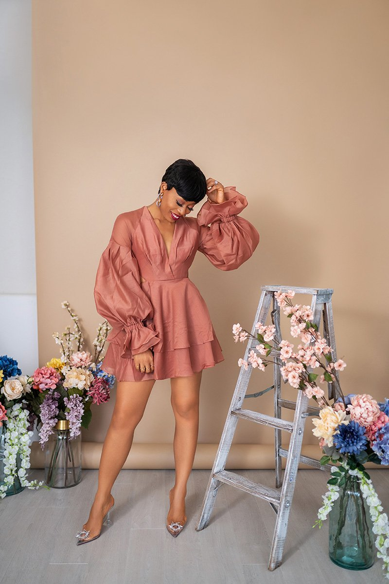 Stella-adewunmi-of-jadore-fashion-blog-share-ASOS-DESIGN-pleated-mini-dress-with-blouson-sleeve-and-cuff-detai-in-rose