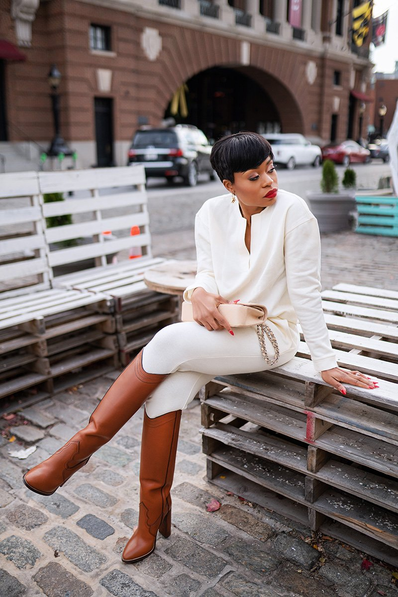 stella-adewunmi-of-jadore-fashion-blog-shares-how-to-look-chic-in-sweatpants-sweatshirt-ysl-brown-boots