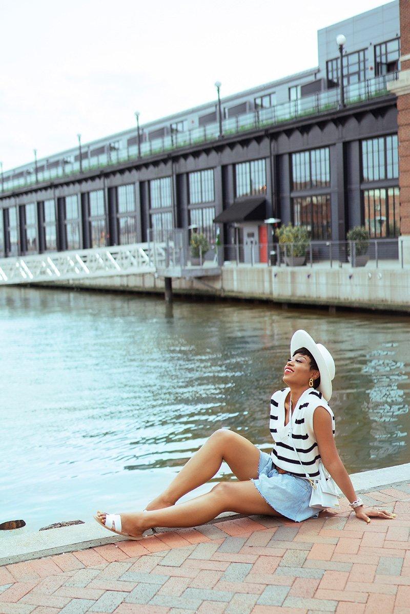 free-people-denim-shorts-zara-stripe-vest