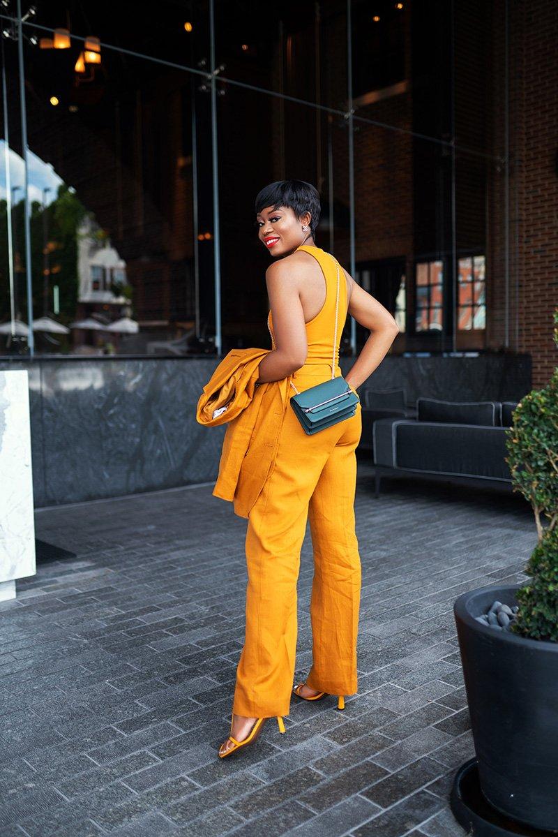 Stella-adewunmi-jadore-fashion-shares-mango-tailored-suit-Strathberry-east-west-mini-bag